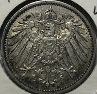1905-A Germany 1 Mark Silver Coin, XF/AU Condition