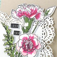 Flower Transparent Stamps + Metal Cutting Dies Stencils Embossing Crafts Decor A
