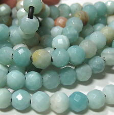 """Amazonite 7.5-8mm Faceted Round Large 2mm Hole Beads 8"""" Leather Chain Wrap"""