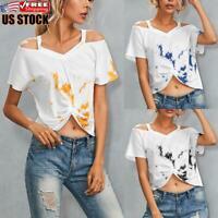 Womens Casual Short Sleeve Tie Dye Crop Tops Ladies Cold Shoulder T Shirt Blouse