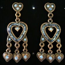 HEART DROPS DROP DANGLE EARRINGS BLUE CRYSTALS BRONZE TONE (7594)