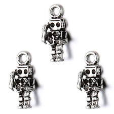 50x Antique Silver Zinc Alloy Robot Can Rhinestone Pendant Fit Jewelry Making L
