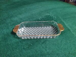 VINTAGE RARE GOLD TRIMMED HOBNAIL BOTTOM GLASS BUTTER DISH BOTTOM - BOTTOM ONLY