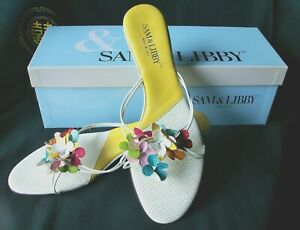 """Sam & Libby """"Bouquet Slides"""" White/Multi Color Thongs - Size 11M Italy"""