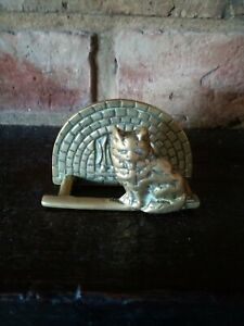 A Vintage or Retro Solid Brass Letter Rack Holder Cat By The Fire Place Feline