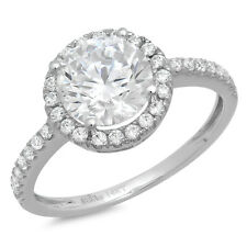 1.38ct Round Cut solitaire Engagement Ring Halo 14k White Gold Bridal band
