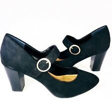 Style & Co Womens Alabina black sz 9.5 Suede Ankle Strap Mary Jane Pumps