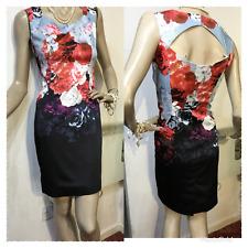 NEU NEU Karen Millen Blumenmuster geschnittenes Kleid Größe UK 10 US 6 EU 38 rot schwarz grau