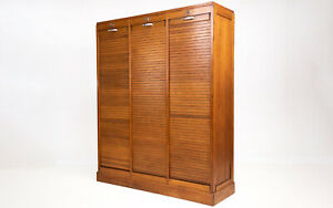 French Triple Tambour Haberdashery Office Filing Oak Cabinet, 1940
