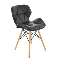 Eiffel Dining Chairs Wooden Legs Faux Leather Padded Seat Office Desk Home Chair