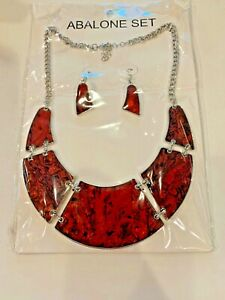 Red Abalone Set Necklace 16-18 In  and earrings In silver tone
