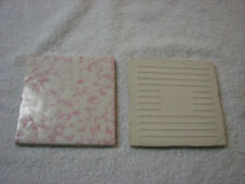 """Lot of 6 Vintage Pink and White Ceramic Bathroom Wall Tiles 4 1/4"""" x 4 1/4"""" New"""