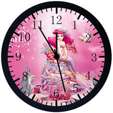 Little Mermaid Ariel Black Frame Wall Clock Nice For Decor or Gifts E237