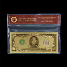 WR America Bank Note US $1000 Dollar 24K Gold Banknotes Collection Gifts +COA