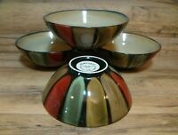"4 - SANGO - FLAIR BLACK - DEEP EARTH TONE - 7 1/2"" SOUP CEREAL BOWLS # 4835"