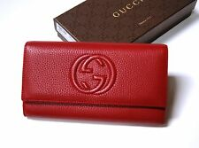 New Authentic Gucci Soho Red Leather Continental Wallet Clutch