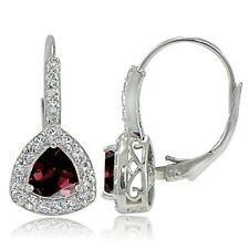 Sterling Silver Garnet & White Topaz Trillion-Cut Leverback Earrings