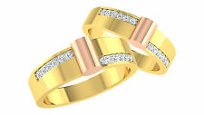 0.29 Ct Real Diamond Engagement Ring 14K Solid Yellow Gold Couple's Rings Size N