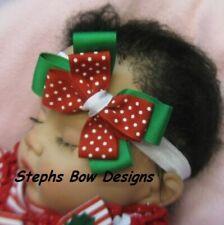 Christmas Red Green White Layered dainty hair Bow Headband 4 Preemie 2 Toddler