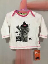 New Baby Girls M&S White Halloween Witch Kitten Long Sleeve Top 6-9m👻