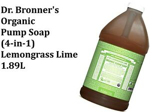 DR BRONNERS Organic Pump Soap - 4 in 1 Sugar LEMONGRASS LIME 1.9L