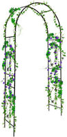 "90"" Metal Garden Arch Arbor Trellis for Climbing Outdoor Plants Roses Flowers"
