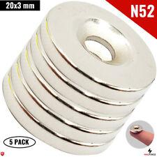 5 Pcs N52 20x3mm 34 Strong Neodymium Disc Countersunk Hole Rare Earth Magnet