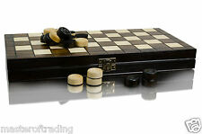 100 FIELDS DRAUGHTS / CHECKERS SET 13in !!! VARNISHED PIECES HORNBEAM WOOD !!!