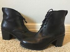 New FRYE Women's Kendall Chukka Black Leather Lace Up Boots Sz 6 $328