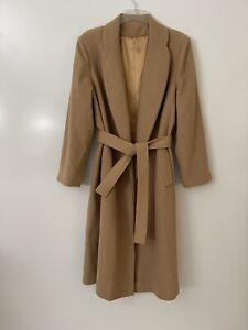 Fleurette Union Made in USA: LUX Classic Long 100% Camel Hair Coat Women M 6/8