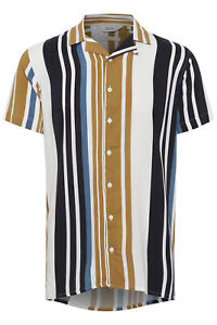 !Solid Herren Freizeithemd Kurzarmhemd Hawaihemd mit gestreiftem Muster