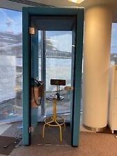 More details for naughtone dark blue/aqua fabric and glass phone booth (2f1-9e3-393)