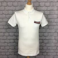 TOMMY HILFIGER MENS UK S WHITE TIPPED POCKET SHORT SLEEVE POLO SHIRT RRP £75 CS