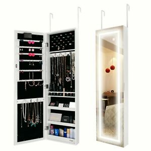 Ezigoo LED Door Wall Mounted Jewellery Cabinet with Frameless Mirror