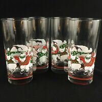 Set of 4 VTG 1991 Flat Glasses 15 oz Princess House Ice Skating Christmas Bears