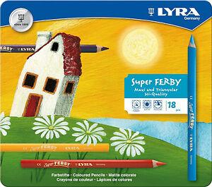 18 Lyra Super Ferby Stifte Farbstifte Buntstifte dicke Malstifte Metalletui tri