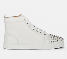 Christian Louboutin Mens Lou Spikes Flat White Snow Silver High Top Sneaker 47