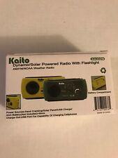 Kaito KA332W Solar Crank AM FM Weather Emergency Radio with Flashlight Yellow