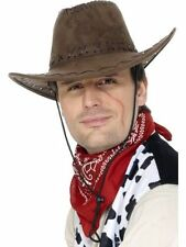 Unisex Brown Suede Look Cowboy Hat Cowgirl Fancy Dress Stag Hen Western Movie