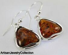 BALTIC AMBER EARRINGS 925 STERLING SILVER ARTISAN JEWELRY COLLECTION S035