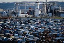 779011 Auto Scrap Yard Fertilizer Factory In Background A4 Photo Print