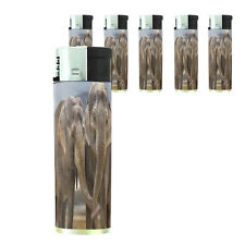 Butane Refillable Electronic Lighter Set of 5 Elephant Design-005 Custom Nature