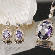18k rose gold gf made with SWAROVSKI crystal purple stud earrings necklace set
