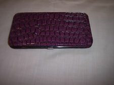 Flat Wallet, Embossed Patent Leather-Like. Purple