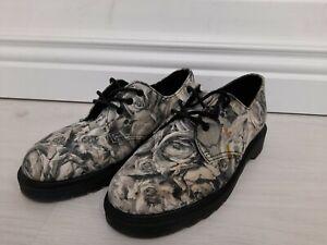 Dr. Martens Lester flat 1461 3 eye shoes UK 3 EU 36 US 5 skull roses black grey