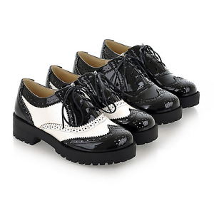 19 Women Brogue Students Lace Up Shoes Low Heel Black White School size 4.5-10.5
