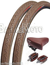 Sella Montegrappa + Pedali + N°2 Copertone 26 x 1.3/8 Bici Olanda Epoca MARRONE