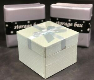 Christmas Gift Boxes 1 Set Of 3 Square Boxes 1 Mint Green And 2 Silver Small NEW