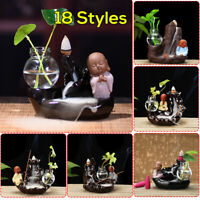 Buddha Monk Ceramic Smoke Backflow Cone Stick Incense Burner Censer Home Decor