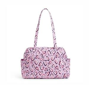 Vera Bradley Baby Bag Travel Tote Changing Pad Pink Iced Hearts NWT